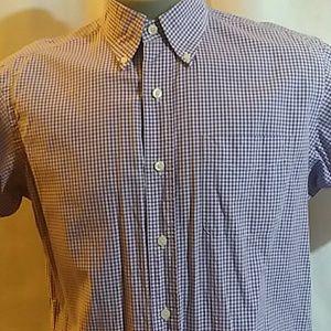 American Living Purple Plaid Short Sleeve Shirt